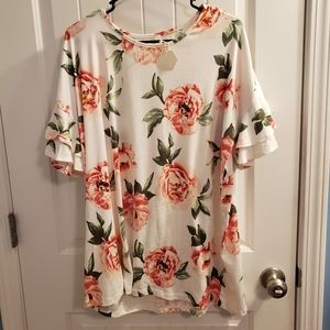 Pinkblush floral ruffle sleeve maternity top
